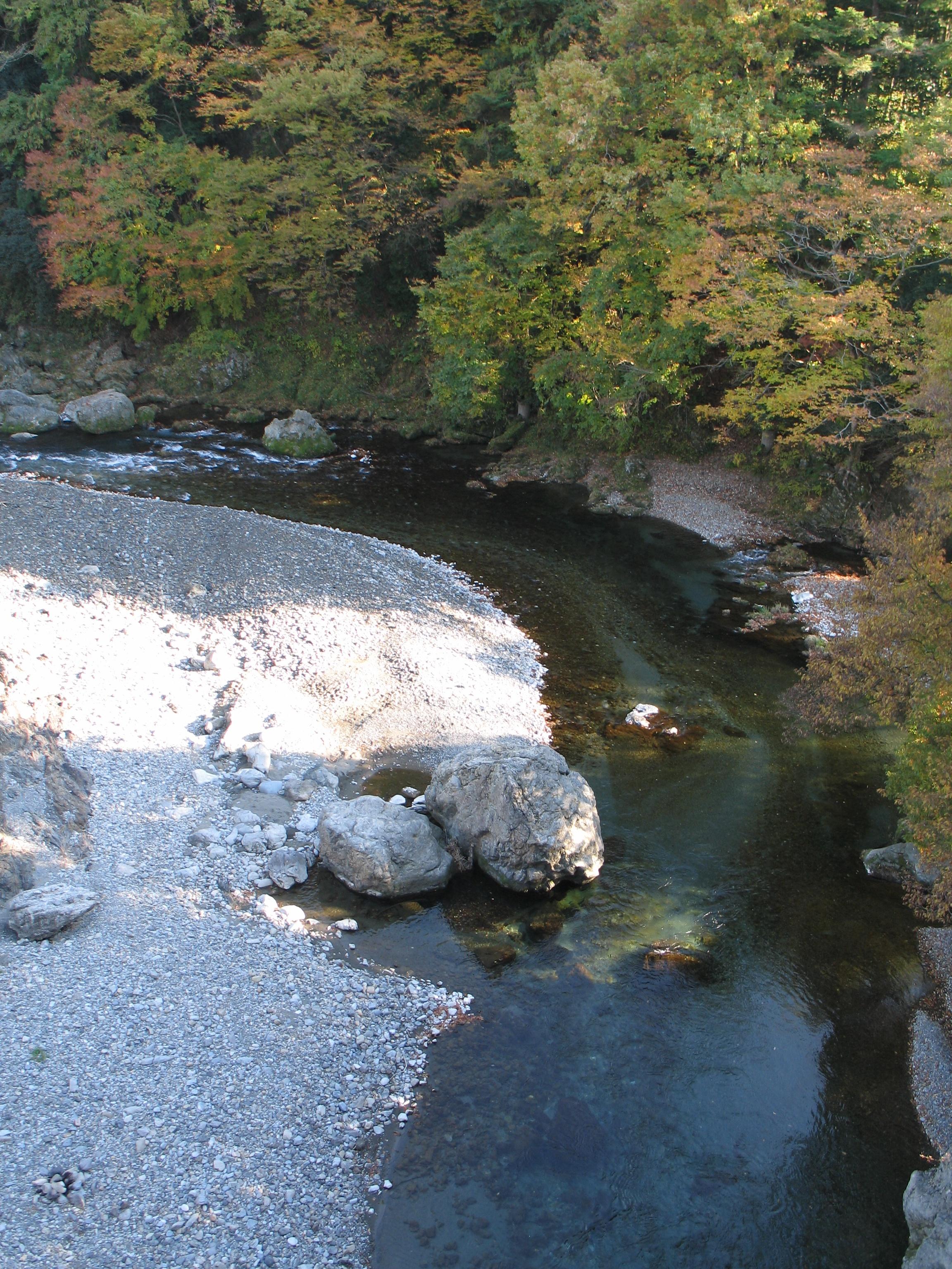 Fluss von Brücke normaler Wasserstand